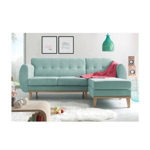 Canapea cu șezlong pe partea dreaptă Bobochic Paris Viking, albastru deschis