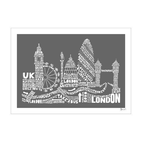 Plakát London Grey&White, 50x70 cm