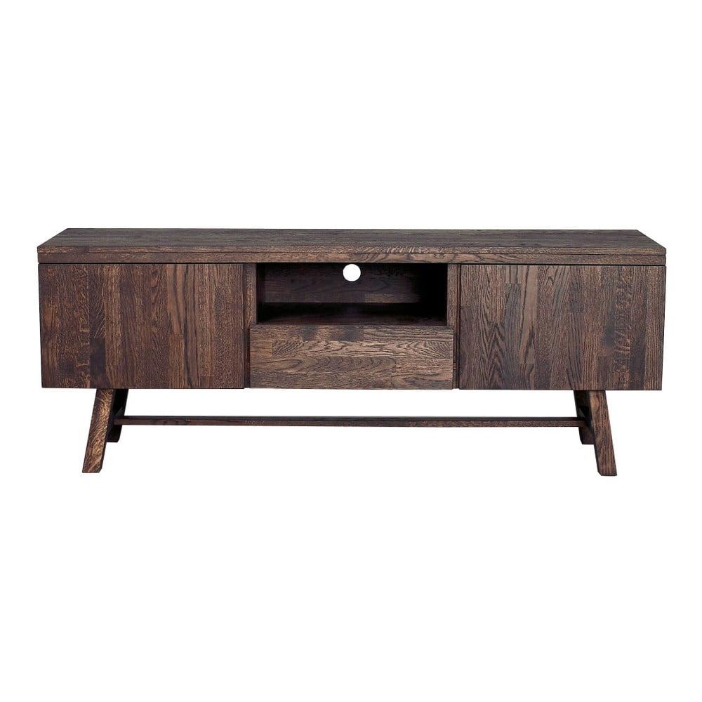 Tmavě hnědý dubový televizní stolek Rowico Brooklyn