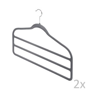 Sada 2 šedých věšáků na kalhoty Bonita Velvet Hangers