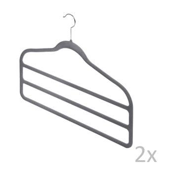 Set 2 umerașe pantaloni Domopak Velvet Hangers, gri de la Domopak