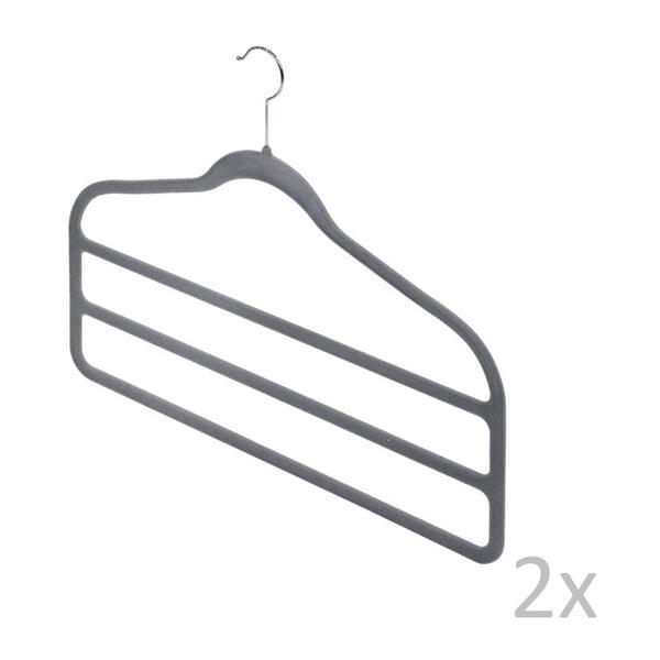 Zestaw 2 szarych wieszaków na spodnie Domopak Velvet