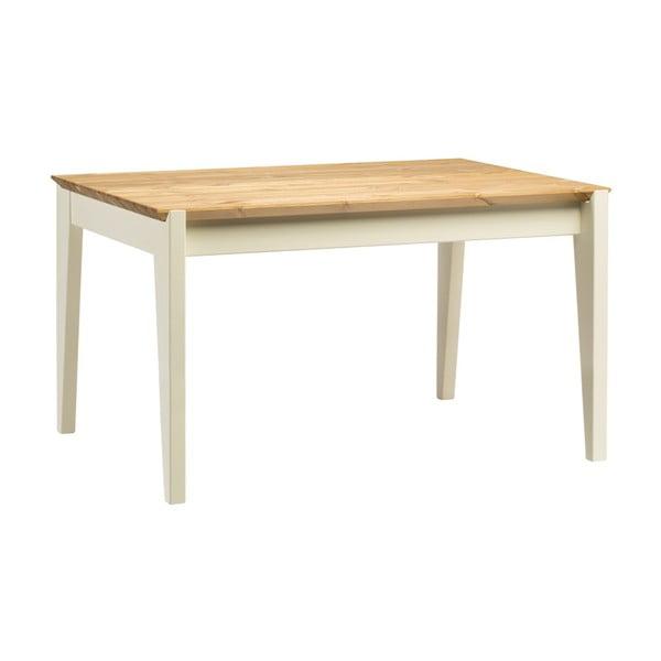 Hook borovi fenyőfa asztal fehér lábakkal, hossza 130 cm - Askala