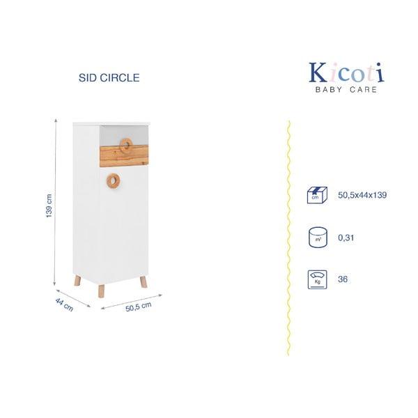 Dulap KICOTI Circle, gri - alb