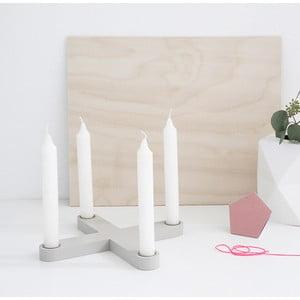Dřevěný svícen SNUG.Cross, šedý