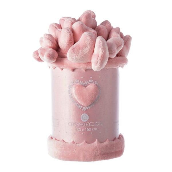Pătură Unimasa Heart, 130 x 160 cm, roz deschis