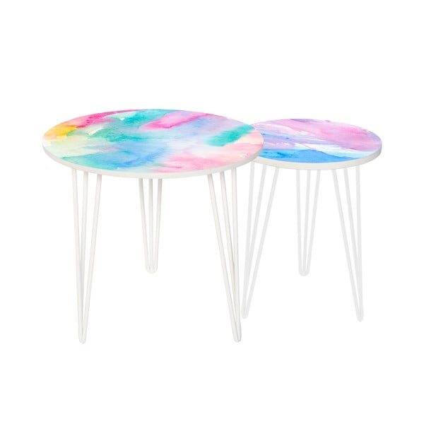 Sada 2 odkládacích stolků Colour Splash, 35 cm + 49 cm