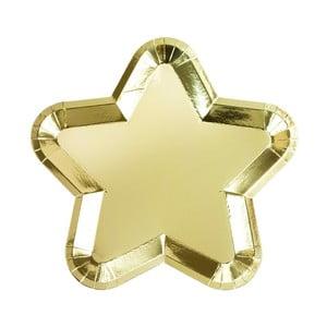 Sada 12 papírových talířků ve tvaru hvězdy zlaté barvy Talking tables Metallics,23x23cm