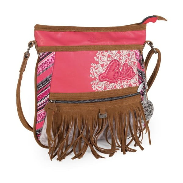 Růžovo-bílá kabelka s třásněmi Lois, 26 x 25 cm
