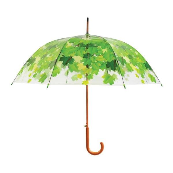 Umbrelă cu detalii verzi Esschert Design Ambiance Birdcage Leaf, ⌀ 92,5 cm, transparent