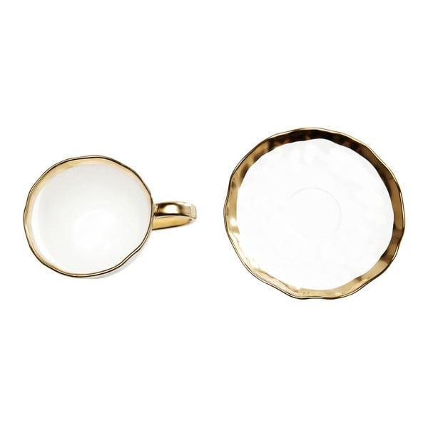 Sada 2 hrnků z glazovaného porcelánu s podšálkem Kare Design Bell