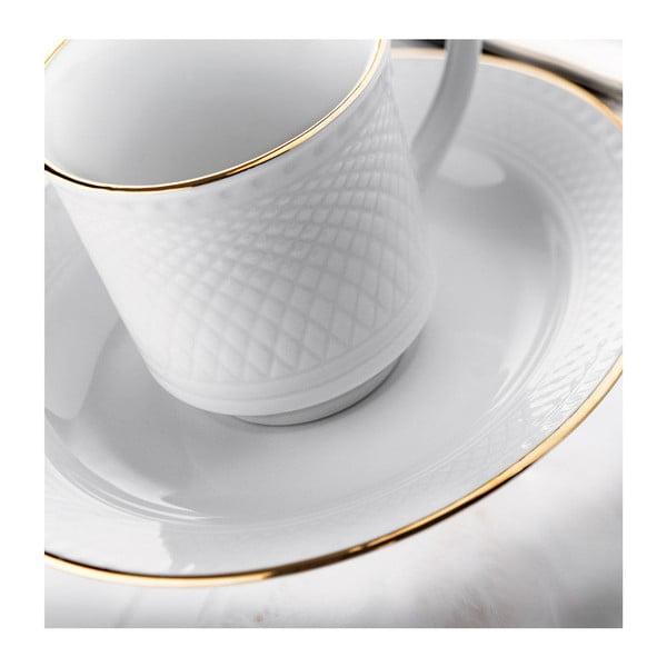Zestaw 6 porcelanowych filiżanek ze spodkami Kutahya Gold Line, 80 ml