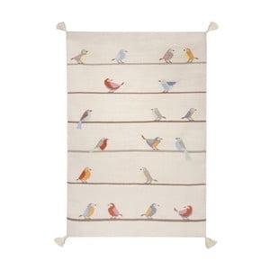 Ručně tkaný béžový vlněný koberec Art For Kids Birds,110x160cm
