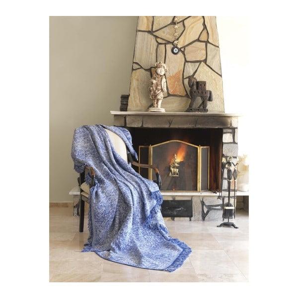 Pătură din bumbac Linen, 170 x 220 cm, albastru