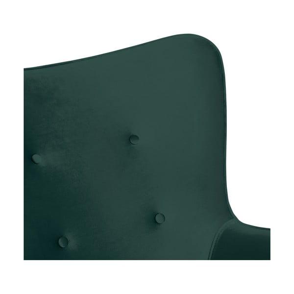 Petrolejově zelené křeslo a podnožka s podnoží v přírodní barvě Vivonita Cora Velvet