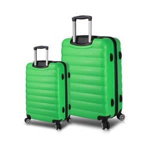 Sada 2 zelených cestovních kufrů na kolečkách s USB porty My Valice RESSNO Cabin & Large