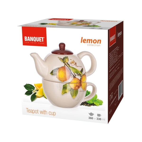 Keramická konvička se šálkem Banquet Lemon, 360/300ml