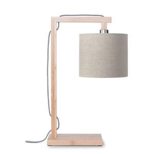 Stolní lampa s béžovým stínidlem a konstrukcí z bambusu Good&Mojo Himalaya