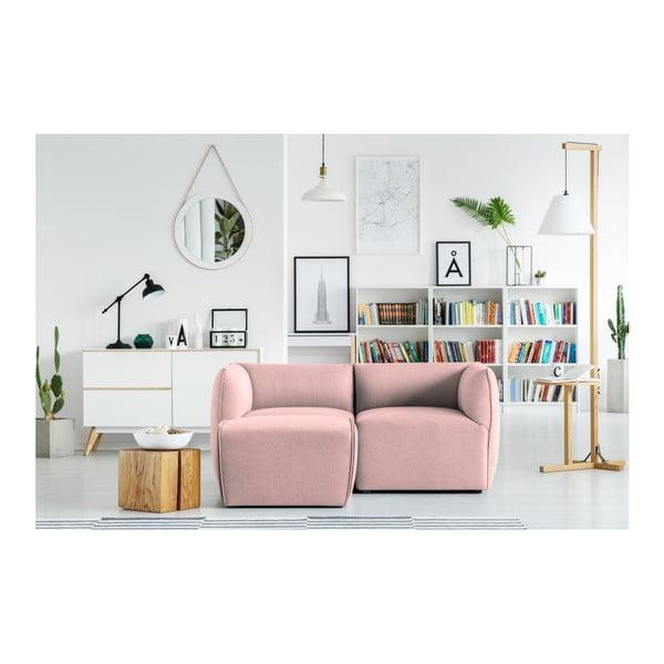Růžová modulová dvoumístná pohovka s lenoškou Norrsken Ollo
