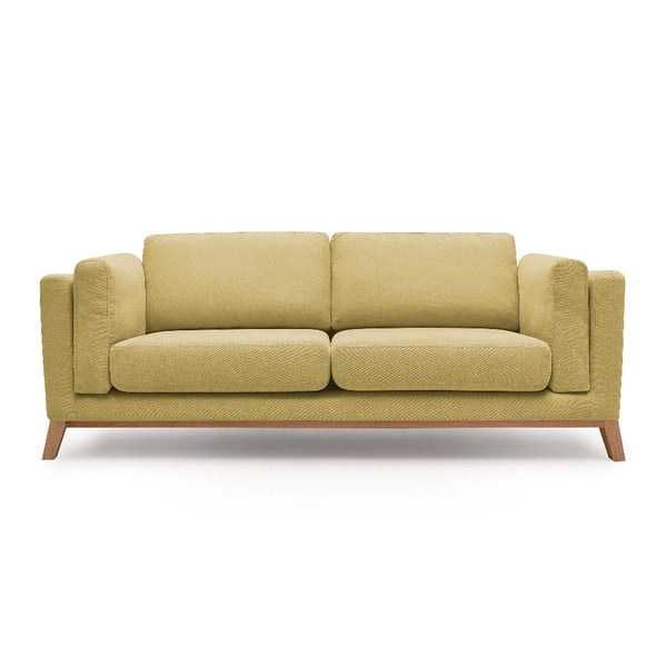 Żółta sofa 3-osobowa Bobochic Paris Enjoy