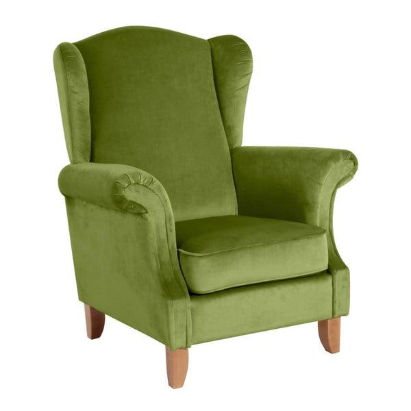 Zelené křeslo ušák Max Winzer Verita Velvet