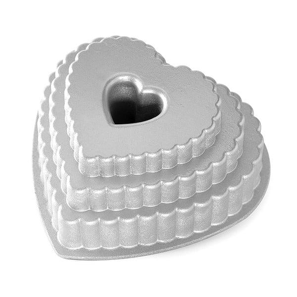 Forma na bábovku ve stříbrné barvě Nordic Ware Heart, 2,8 l