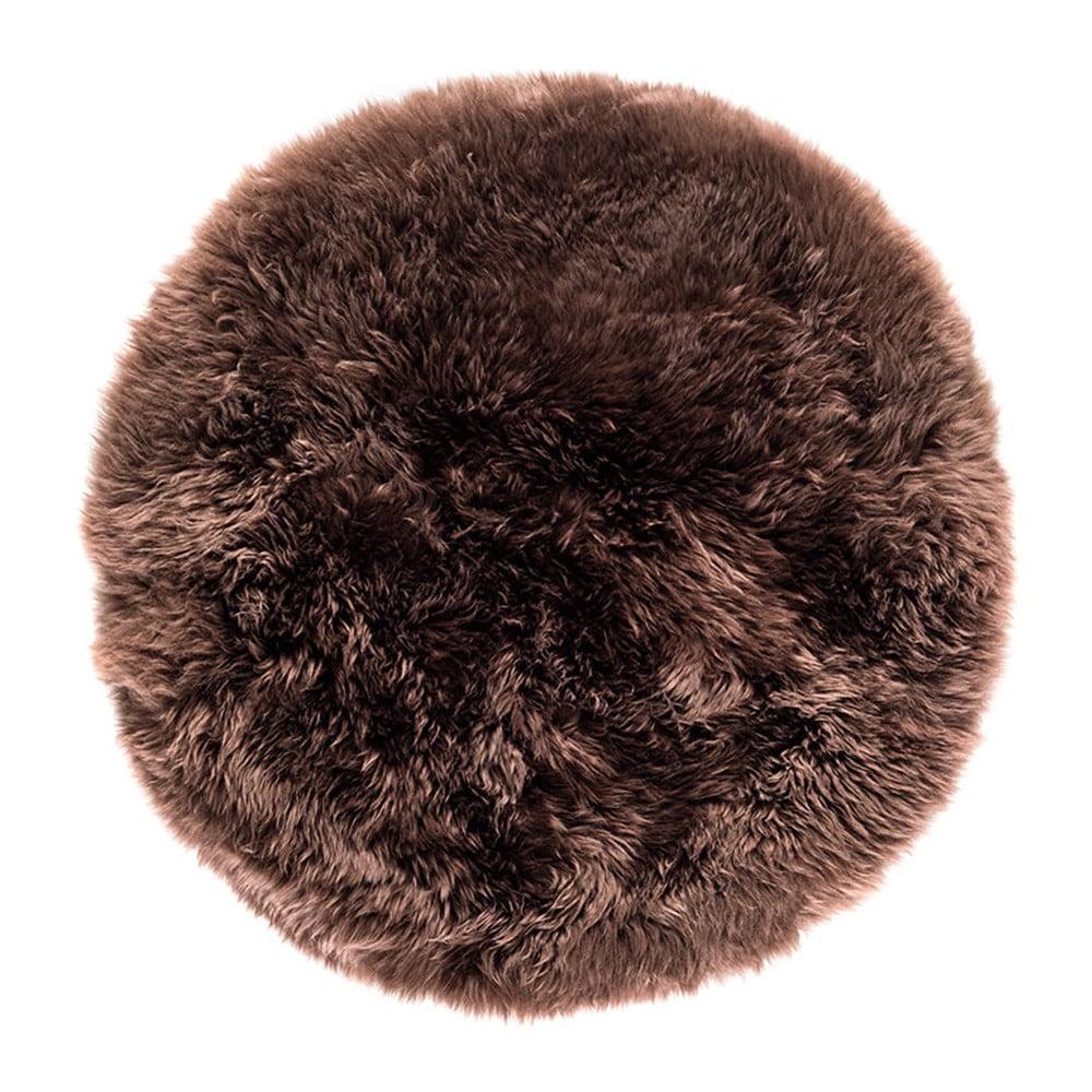 Tmavě hnědý koberec z ovčí kožešiny Royal Dream Zealand, ⌀ 70 cm