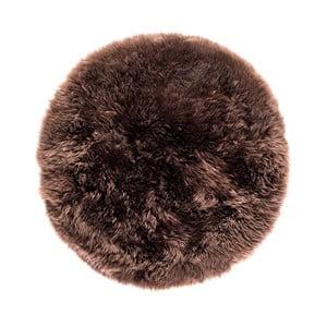 Hnědý koberec z ovčí kožešiny Royal Dream Zealand,⌀ 70cm