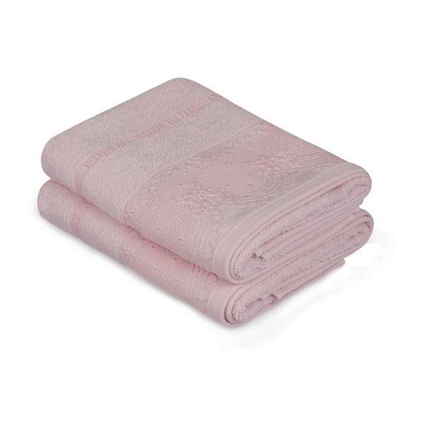 Sada dvoch ružových uterákov Baroque, 90 × 50 cm