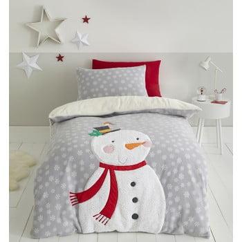 Lenjerie de pat din fleece Catherine Lansfield Cosy Snowman, 200 x 200 cm, gri