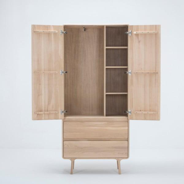 Šatní skříň z masivního dubového dřeva se 2 zásuvkami Gazzda Fawn