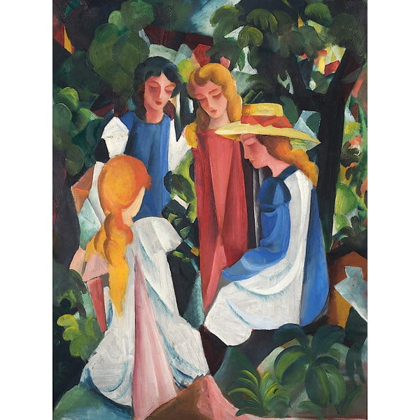 Four Girls másolat, 40 x 60 cm - August Macke