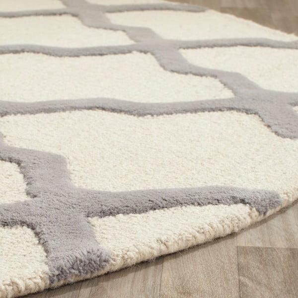 Vlněný koberec Ava 121x182 cm, bílý/šedý