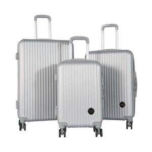 Sada 3 cestovních kufrů na kolečkách ve stříbrné barvě Travel World Emilia