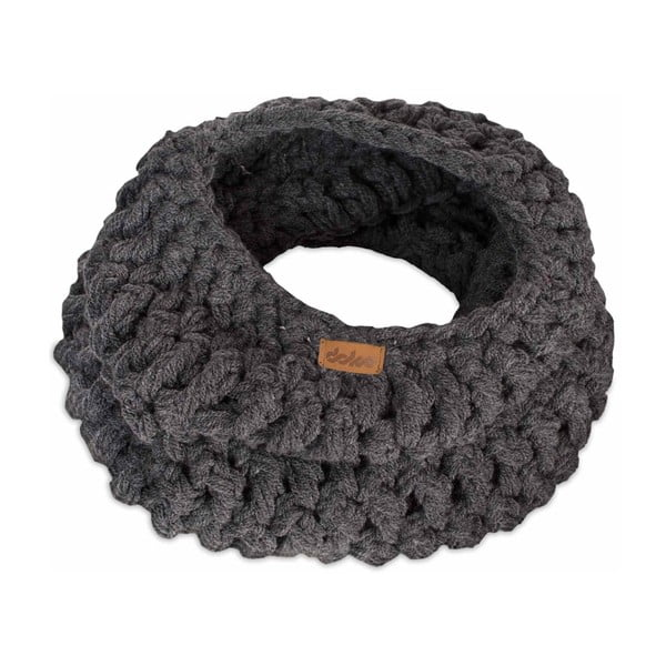 Fular circular tricotat manual DOKE Banks, gri închis