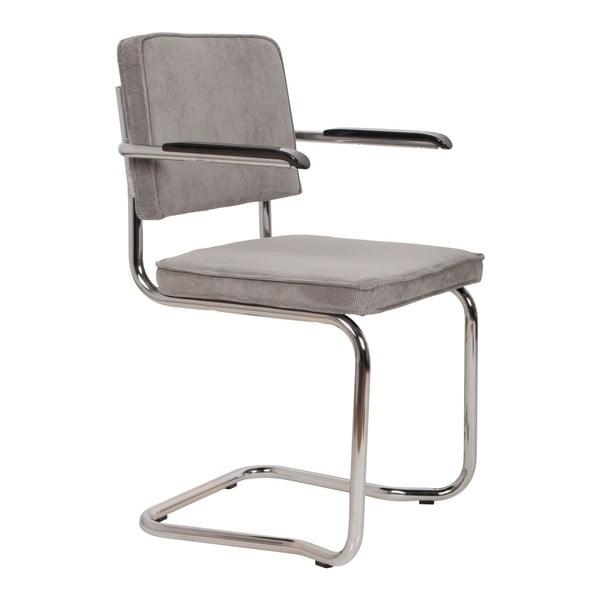 Sada 2 světle šedých židlí s područkami Zuiver Ridge Kink Rib