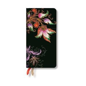 Diář pro rok 2015 Floral Cascade Ebony 9x18 cm, verso výpis dnů