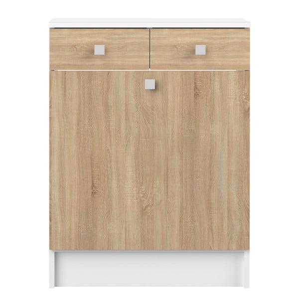 Koupelnová skříňka s košem na prádlo v dekoru dubového dřeva TemaHome Combi