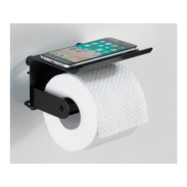 Černý nástěnný držák na toaletní papír s podložkou na mobil Wenko Classic Plus
