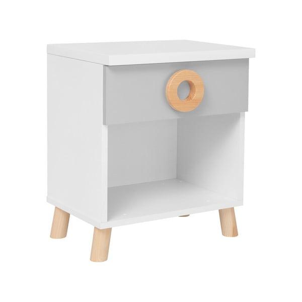 Šedo-bílý noční stolek KICOTI Circle