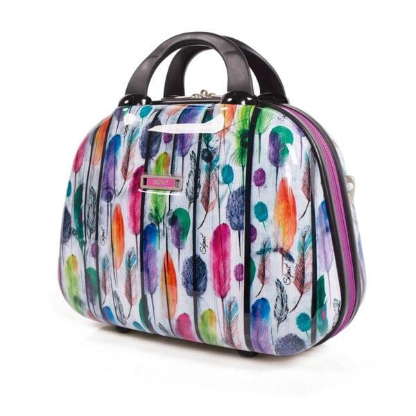 Bílý cestovní kosmetický kufřík s barevnými lístky SKPA-T