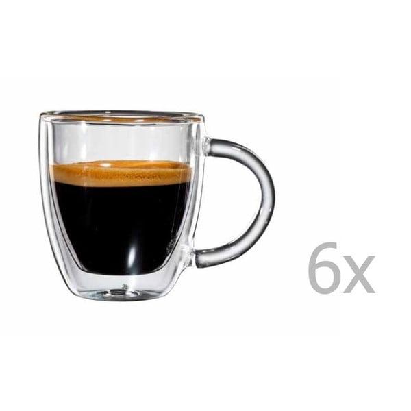 Sada 6 skleněných hrnků na espresso s ouškem bloomix Verona