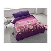 Fialové povlečení na dvoulůžko z mikroperkálu Sleeptime Bright Flowers,200x200cm