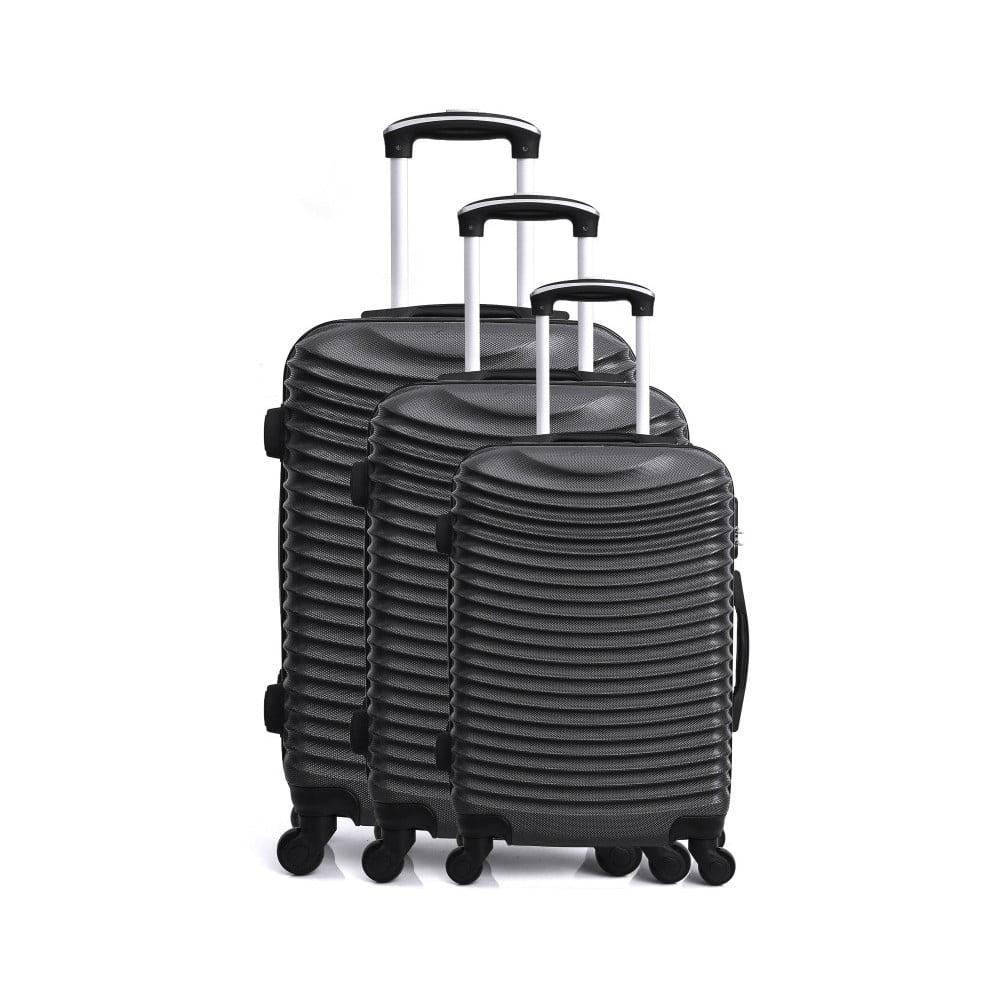 Sada 3 černých cestovních kufrů na kolečkách Hero Jasmine