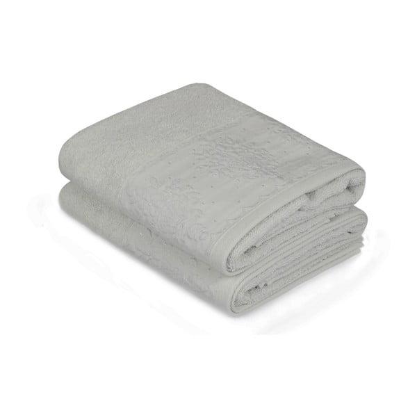 Sada dvou světle modrých ručníků Victorian, 90x50cm