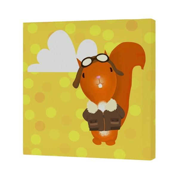 Nástěnný obrázek Ballon Ride Squirrel, 27x27 cm