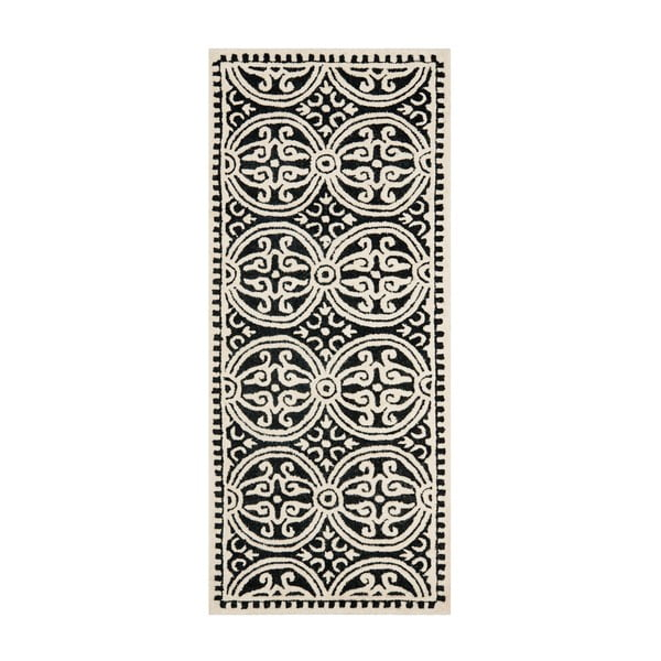 Vlněný koberec Marina 76x243 cm, černý