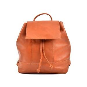 Koňakově hnědý kožený dámský batoh Roberta M Ramida