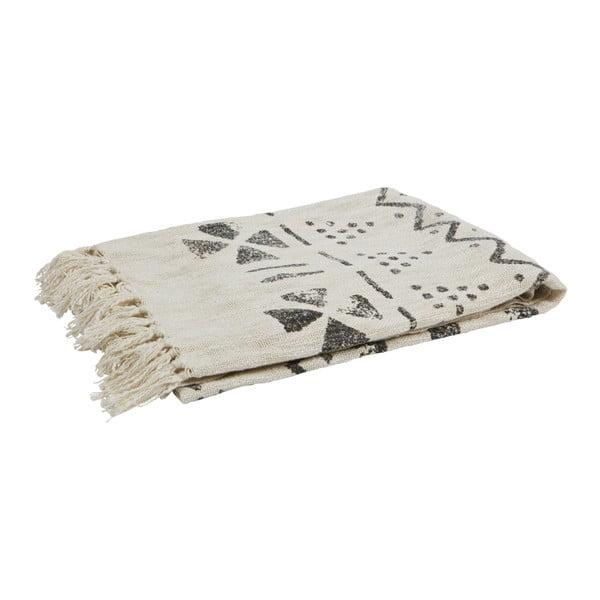 Sivobiely pléd z čistej bavlny De Eekhoorn Stamp, 130×170cm