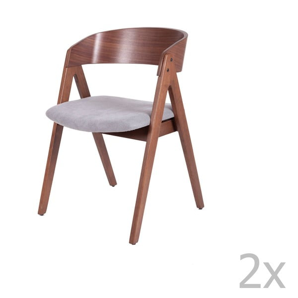 Zestaw 2 krzeseł do jadalni z szarym siedziskiem sømcasa Rina
